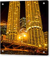 Chicago Marina City Towers At Night Picture Acrylic Print
