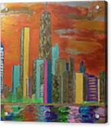 Chicago Metallic Skyline Acrylic Print by Char Swift