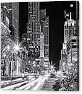 Chicago Michigan Avenue Light Streak Black And White Acrylic Print