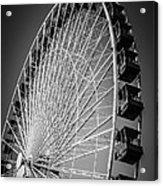 Chicago Navy Pier Ferris Wheel In Black And White Acrylic Print