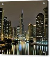 Chicago Night River View Acrylic Print