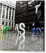 Chicago Picasso In The Rain Acrylic Print