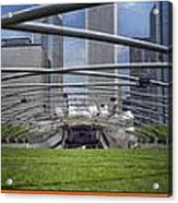 Chicago Pritzker Music Pavillion Triptych 3 Panel Acrylic Print