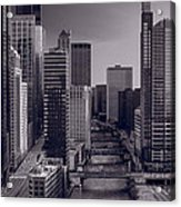Chicago River Bridges South Bw Acrylic Print