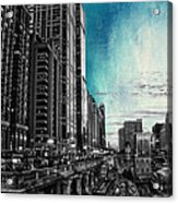 Chicago River Hdr Sc Textured Acrylic Print