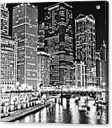 Chicago River Skyline At Night Black And White Picture Acrylic Print