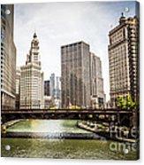 Chicago River Skyline At Wabash Avenue Bridge Acrylic Print by Paul Velgos