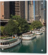 Chicago River Tour Boats Acrylic Print