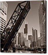 Chicago River Traffic Bw Acrylic Print