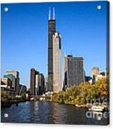 Chicago River With Willis-sears Tower Acrylic Print