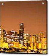 Chicago Skyine At Night Panoramic Photo Acrylic Print