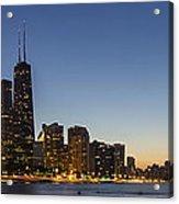 Chicago Skyline At Dusk 3 To1 Aspect Ratio Acrylic Print