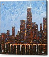 Chicago Skyline At Night From North Avenue Pier Acrylic Print