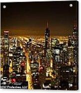 Chicago Skyline At Night I Acrylic Print