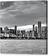 Chicago Skyline Black And White Acrylic Print
