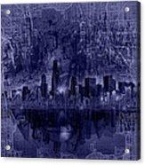 Chicago Skyline Blueprint Acrylic Print