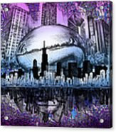 Chicago Skyline Drawing Collage 2 Acrylic Print