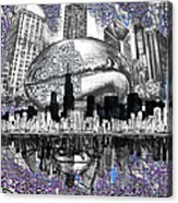Chicago Skyline Drawing Collage Acrylic Print