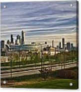 Chicago Skyline From The Sledding Hill Acrylic Print
