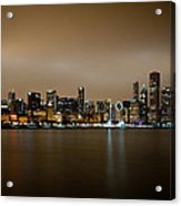 Chicago Skyline In Fog With Reflection Acrylic Print