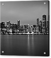 Chicago Skyline In Fog With Reflection - Black And White Acrylic Print