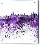Chicago Skyline In Purple Watercolor On White Background Acrylic Print