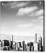 Chicago Skyline Panoramic Black And White Picture Acrylic Print