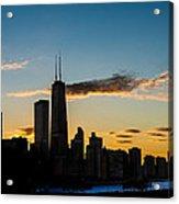 Chicago Skyline Silhouette Acrylic Print by Steve Gadomski