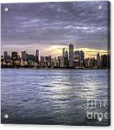Chicago Skyline Sunset Acrylic Print
