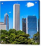 Chicago Skyline With Grant Park Trees Acrylic Print