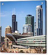 Chicago Skyline With Soldier Field And Sears Tower  Acrylic Print