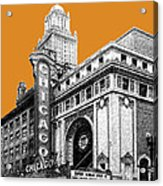 Chicago Theater - Dark Orange Acrylic Print