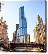 Chicago Trump Tower At Michigan Avenue Bridge Acrylic Print by Paul Velgos