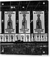 Chicago United Center Banners Bw Acrylic Print