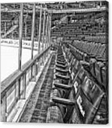 Chicago United Center Before The Gates Open Blackhawk Seat One Bw Hdr Acrylic Print
