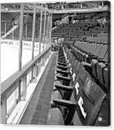 Chicago United Center Before The Gates Open Blackhawk Seat One Bw Acrylic Print