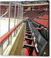 Chicago United Center Before The Gates Open Blackhawk Seat One Acrylic Print