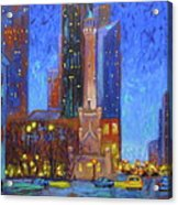Chicago Water Tower At Night Acrylic Print