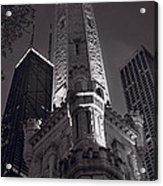 Chicago Water Tower Panorama B W Acrylic Print by Steve Gadomski