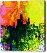 Chicago Watercolor Skyline Acrylic Print