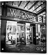 Chicago Willis-sears Tower Sign In Black And White Acrylic Print by Paul Velgos