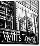 Chicago Willis Tower Sign In Black And White Acrylic Print by Paul Velgos