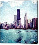 Chicago Windy City Digital Art Painting Acrylic Print