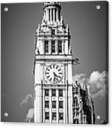 Chicago Wrigley Building Clock Black And White Picture Acrylic Print