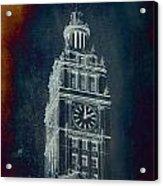 Chicago Wrigley Clock Tower Textured Acrylic Print