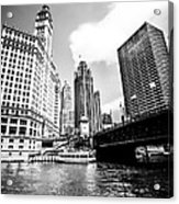 Chicago Wrigley Tribune Equitable Buildings Black And White Phot Acrylic Print
