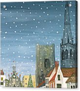 Chichester Cathedral A Snow Scene Acrylic Print by Judy Joel