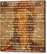 Chief Tecumseh Poem Acrylic Print