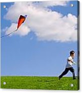 Child Flying A Kite Acrylic Print