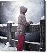 Child In Snow Acrylic Print